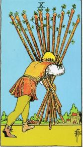 rider waite ten of wands