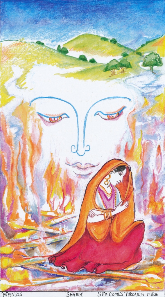 Sacred India Tarot - Seven of Staves/Wands - Sita through the fire