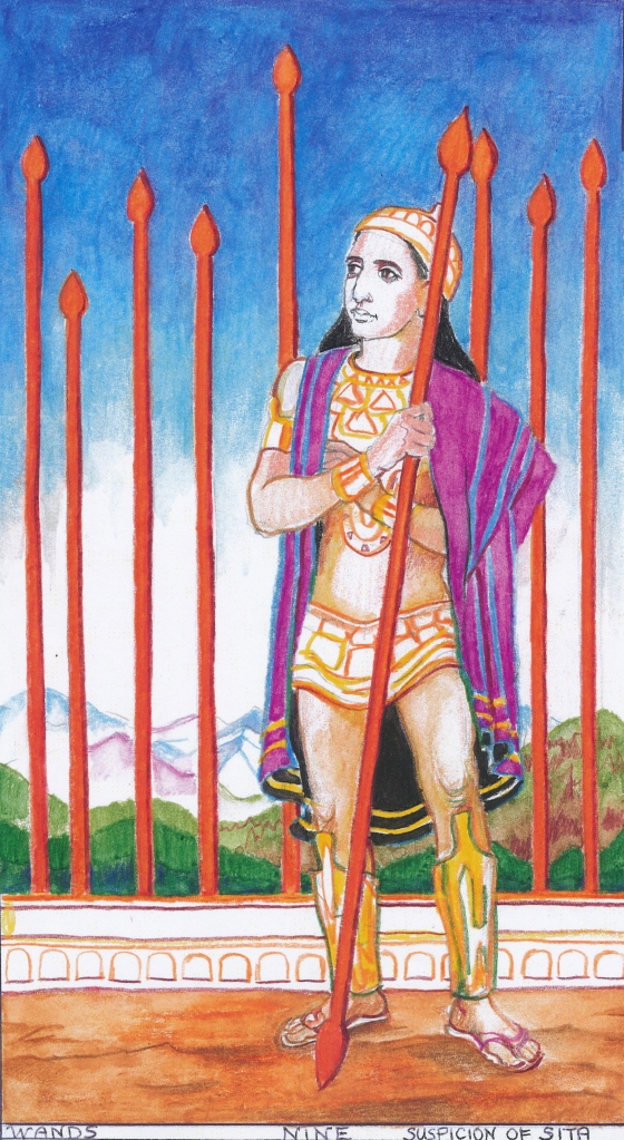 Sacred India Tarot, 9 of Staves - Rama's agony and suspicion of Sita