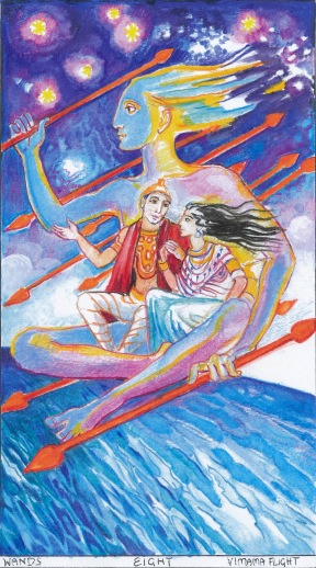 Sacred India Tarot eight of wands, Vimaha flight