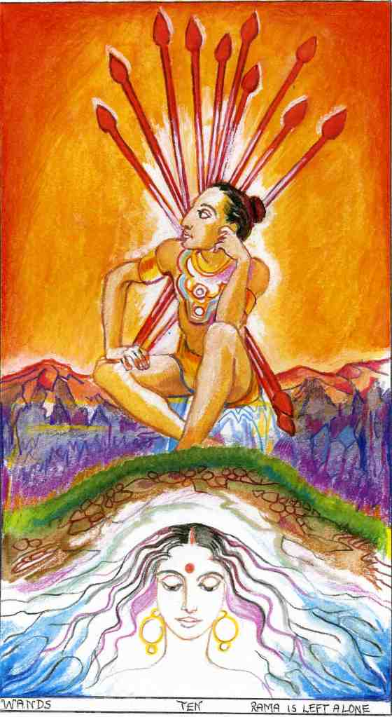 Sacred India Tarot Ten of Staves - The earth receives Sita