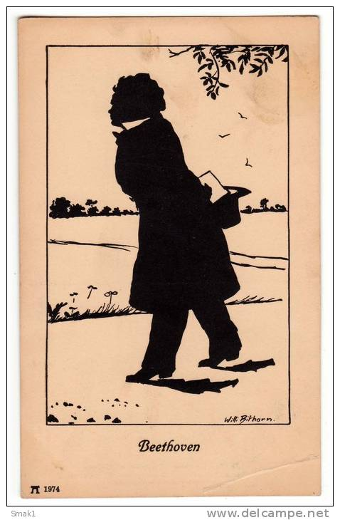 silhouette by will bithorn, postcard