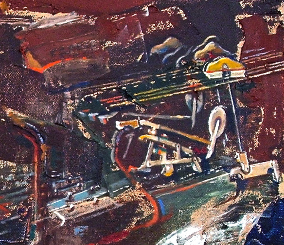 Strings and hammers - detail from a larger painting