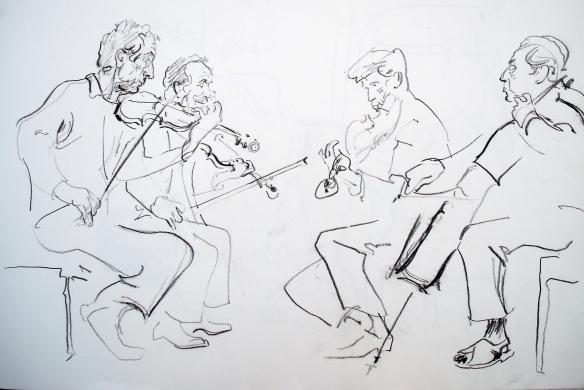 Allegri quartet rehearsing, 1988