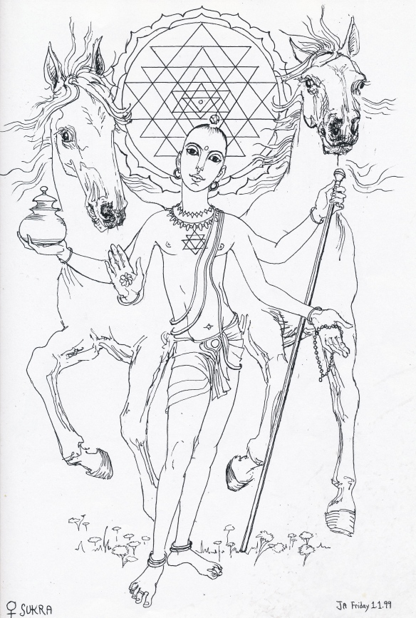 Sukra - the Jyotish deity Venus. This illustration is in Andrew Foss's new book on Vedic astrology