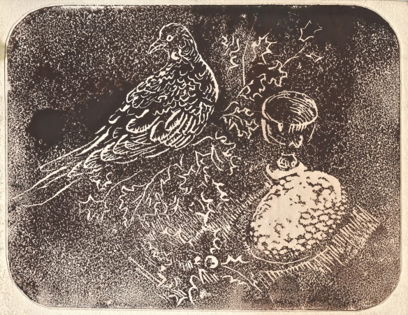 lino cut bird and egg