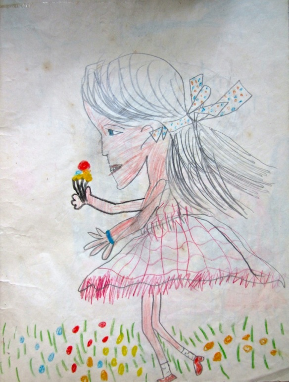 Little girl in a meadow, 1955