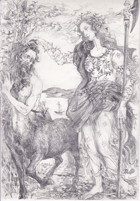 9 drawing of centaur athene after botticelli