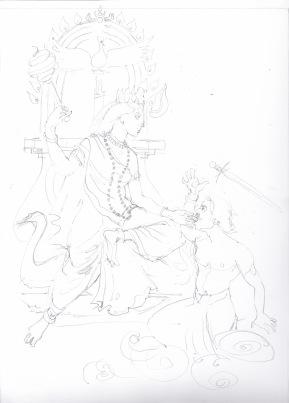 24 mahavadya bagalamukhi sketch, janeadamsart